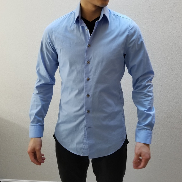 Express Shirts Mens 1mx Dress Shirt Xs Athletic Fit Blue Poshmark
